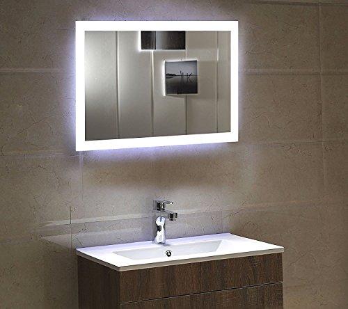 shellkingdom led backlit mirror with border led wall mounted lighted vanity bathroom silvered. Black Bedroom Furniture Sets. Home Design Ideas