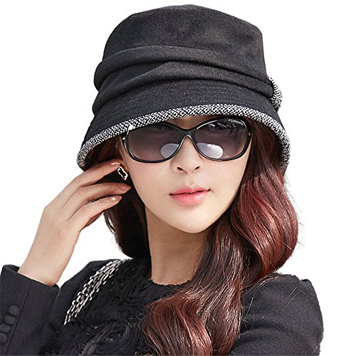 Wool Felt Cloche Bucket Hat Winter Fall Packable Black (Felt Women Hat)