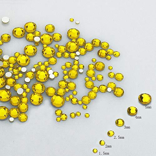 LolliBeads Resin Crystal Round Nail Art Mixed Flat Backs Acrylic Rhinestones Gems,Mix Size 1.5-5 mm, Color Citrine (1200Pcs)