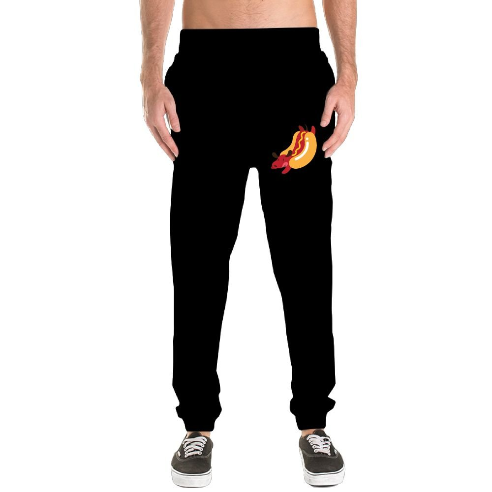 Xianjingshui Cute Hot Dog Men's Jogger Sweatpants Drawstring Elastic Waist Outdoor Running Trousers Pants With Pockets