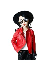 Girls Leather Bomber Jacket Motorcycle Cool Coat Outwear