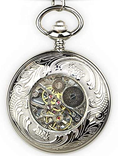 YXZQ懐中時計、ユニークなブロンズドラゴン彫刻機械式レトロ幸運のシンボルローマのスケルトン機械式懐中時計