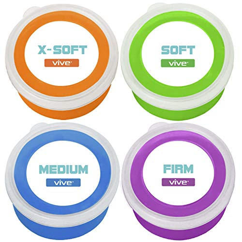 Vive Therapy Putty (12 oz) - Theraputty for Hand, Finger & Grip Strength Resistance Exercises - Extra Soft, Medium and Firm Strengthener Kit - Exerciser for Occupational & Physical Therapy (4-Pack)