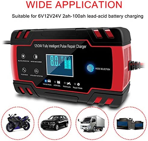 HaoGu Motorcycle Car Battery Trickle Charger and Maintainer Battery Charger Automotive12V 24V 8A Smart Battery Charger Lead Acid Battery Charger LCD Display