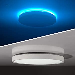 TALOYA LED Flush Mount Ceiling Light with Back Atmosphere Light (Ice Blue), 24W Round 12 Inch Low Profile Surface Mount Light Fixture for Bedroom Living Dining Room, Easy Installation