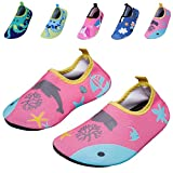Kids Swim Water Shoes Girls Boys Lightweight Barefoot skin Shoes Mutifunctional Beach Pool Aqua Socks for Toddler Little Kid and Big Kid(32/33-Pink fish-XL)