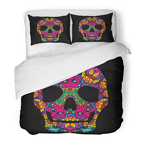 Emvency Decor Duvet Cover Set Twin Size Blue Black Psychedelic Mexican Skull 60S Colors Pink Bone Comic Day Dead Death DMT 3 Piece Brushed Microfiber Fabric Print Bedding Set Cover by Emvency