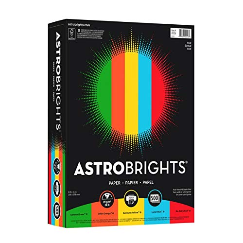 Astrobrights(R) Bright Color Cover Paper, 8 1/2in. x 11in., FSC(R) Certified, 24 Lb, 30% Recycled, Assorted Colors, Ream Of 500 Sheets
