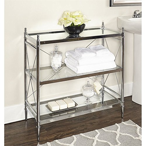 Riverbay Furniture Glass Floor Console in Chrome