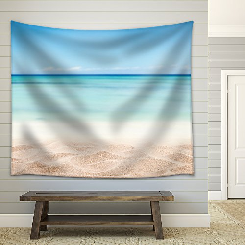 Empty Sandy Beach with Sea Free Space for Text or Product Placement Fabric Wall Tapestry