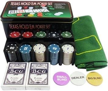 TEXAS HOLD*EM Juego de Poker 200 fichas con Caja + 2 Juego de ...