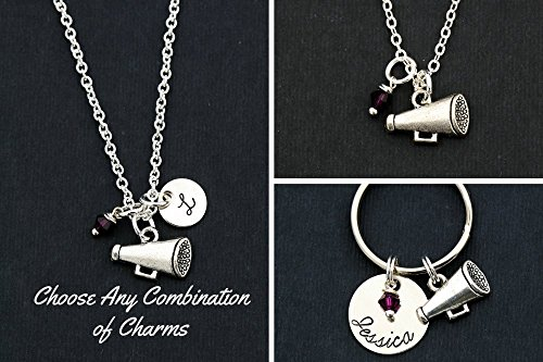 Cheer Necklace – DII ABC - Cheerleader Squad Coach Gift - Megaphone Dance - 5/8 inch 15MM Silver Disc – Choose School Colors - Change Name – Fast 1 Day Shipping