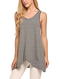 Women Striped Crossover Tank Tops Loose Hi Low Sleeveless Tunics Summer Tee Shirts