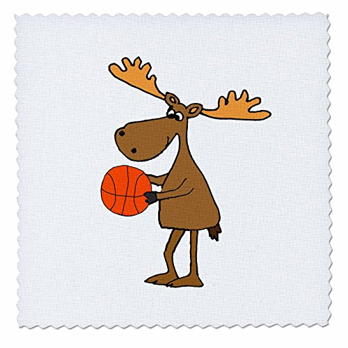 3dRose All Smiles Art Sports and Hobbies - Cute Funny Moose Playing Basketball Cartoon - 16x16 inch Quilt Square (qs_281422_6) - 16w Moose