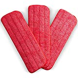 Washable Microfiber Mop Pads (3 Pack) - Microfiber Replacement Mop Pads Heads 16.53 x 5.4Inches for Cleaning of Wet or Dry Floors - Professional Home/Office Cleaning Supplies, Red