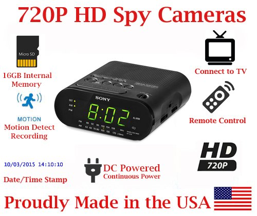SecureGuard HD 720p Personal Home Alarm Clock Radio Spy Camera Covert Hidden Nanny Camera Spy Gadget by AES Spy Cameras