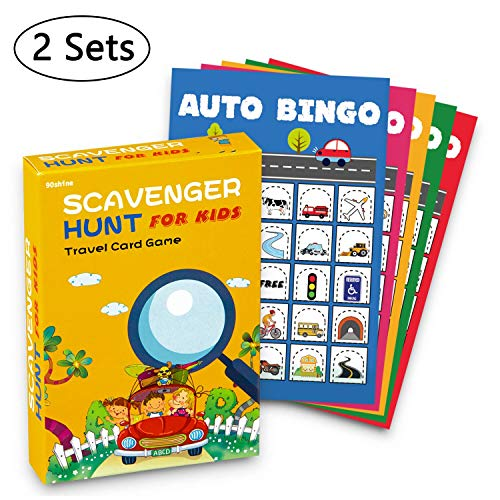 2 Sets Road Trip Card Games - Travel Scavenger Hunt and Auto Bingo - Fun for Kids Adults ()