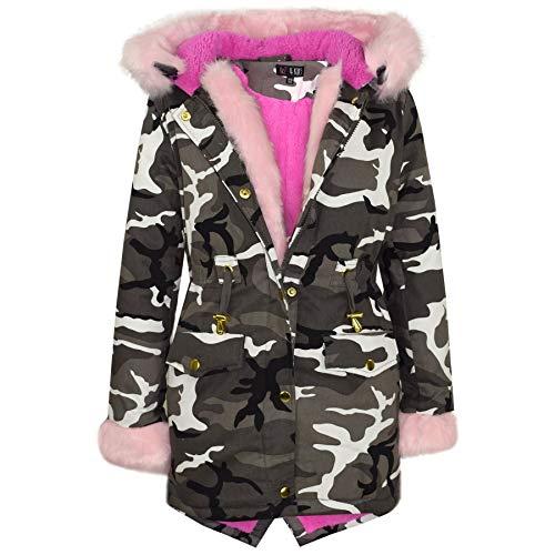 A2Z 4 Kids® jas met capuchon voor kinderen, meisjes, nepbont in regenboogkleur, parka, school, buitenjas, new age, voor…