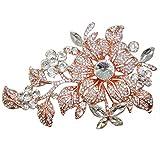 TTjewelry Elegant Austrian Crystal Flower Brooch Pin Romantic Wedding Bride Bridesmaid Rhinestone (Rose Gold-tone)