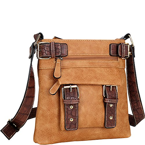 Dasein Crossbody Leather Brown Faux Soft rSnYxr
