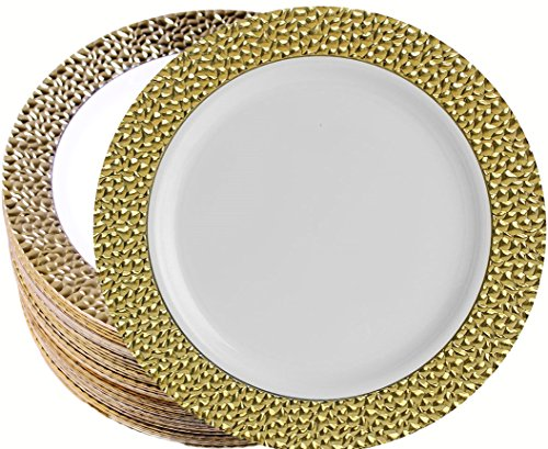 PartyPom Heavy Weight Disposable Embossed Gold and White Plastic like China Plates for Wedding, Party, Special Occasion, 7.25 Inches, 40 Count