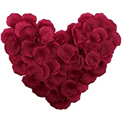 Vivianbuy 1000 PCS Artificial Silk Flower Burgundy Rose Petals for Wedding Party Bridal Decoration