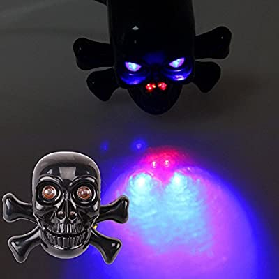 2x Universal Motorcycle Skull Brake Turn Signals Tail Light Indicator Black New (Red and Blue Light)