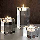 DecentGadget® Heavy Clear Crystal Tea Light Holder Cuboid Candle Holder for Party Ceremony Wedding Centerpiece Home Decoration (1.6''+2.4''+3.2'')