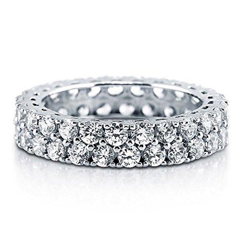 Sterling Silver 925 Bridal CZ Princess Cut Pave Eternity Wedding Band Ring 4-10 ()