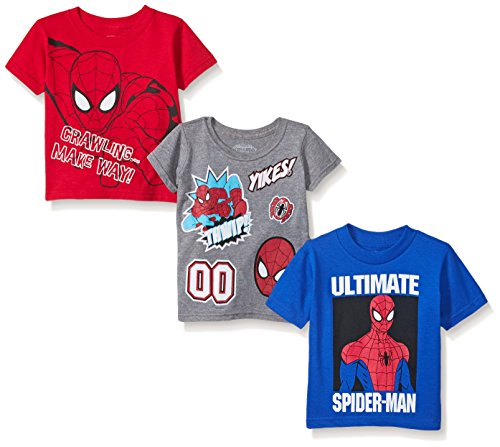 Toddler Superhero Shirts (Marvel Little Boys' Toddler 3-Pack T-Shirt, Red/Grey/Blue, 3T)