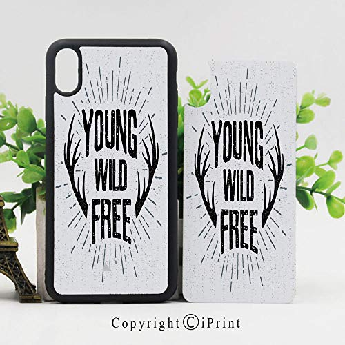 Case for iPhone X,Young Wild Free Inspirational Phrase with Grunge Typography Artwork Decorative Hard Case with TPU Bumper Protective Case Cover,Black Grey White]()