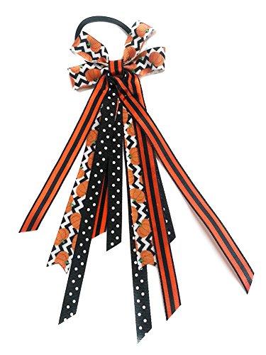 - Halloween Pumpkins Hair Bow Ribbon Streamer Ponytail Holder (Scrunchie)
