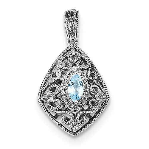 Marquise White Charms (Blue London Blue Topaz Marquise Solitaire Pendant Vintage Fashion Charm Filigree Fancy White White Topaz Sterling Silver)