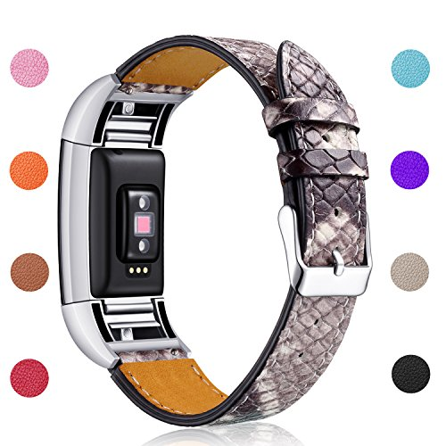 (Hotodeal Band Compatible Charge 2 Replacement Bands, Classic Genuine Leather Wristband Metal Connectors, Fitness Strap Women Men Small Large Snakeskin )