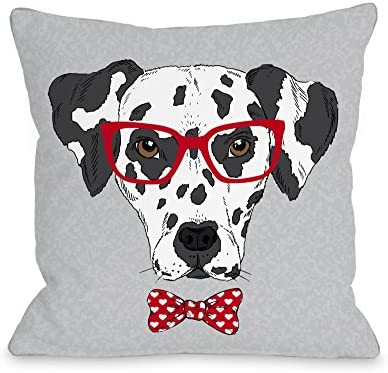 One Bella Casa Hipster Dalmatian Throw Pillow by OBC, 18 x 18 , Gray