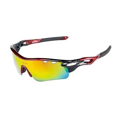 Running Sports Lunettes de soleil Noir Rouge Cadre Earsock Iridium objectif 4paires supplémentaires interchangeables Lentilles polarisées Vélo Pêche Conduite Homme Femme Golf Route Lunettes de