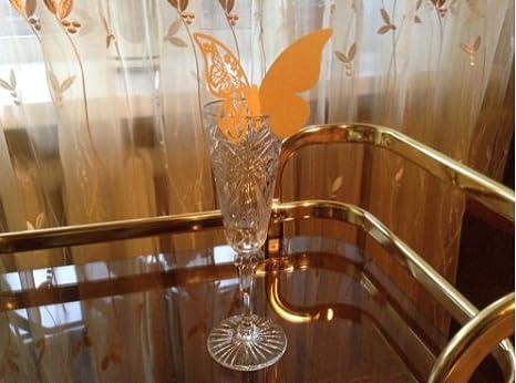 ElecMotive 50 St/ück Schmetterling Tischkarten Namenskarten Glasanh/änger Wandsticker f/ür Tischdeko Hochzeit Party Haus Deco Pink