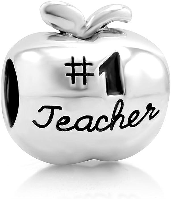 925 Sterling Silver 1 Teacher Apple Bead Charm Fit Major Brand Bracelet