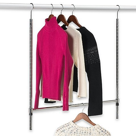 Classic Double Hang Commercial Grade Closet Rod in Chrome (Double Hang Closet)