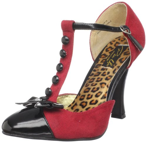 Pin Up Couture SMITTEN-10 Red M. Suede-Blk Pat UK 5 (EU 38 )