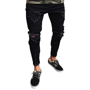 a875741befeda Dihope Homme Pantalon en Denim Serré Trou Biker Déchiré Jeans Skinny Cargo  Straight Slim Taille Huate