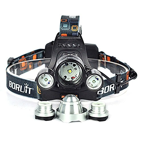 Topwell Night Hunting Green/Red Light Tactical 5000LM 3 x CREE XM L T6 +2 x Green R5 LED Head Headlight Torch Lamp Headlamps for Night Fishing with 2 Pcs 18650 2500 Mah Rechargeable Battery AC Charger and Car Charger