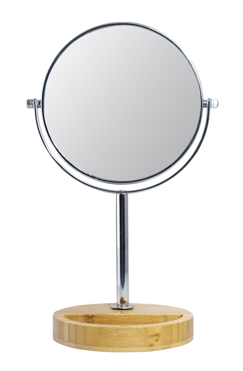 JustNile Double-sided 360 Swivel Vanity Makeup Bathroom Mirror with 3x Magnification on a Bamboo Wood Stand - 7 inch, Chrome