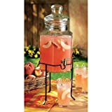 Home Essentials Home Essentials and Beyond Hexagonal Glass Drink Dispenser and Stand,