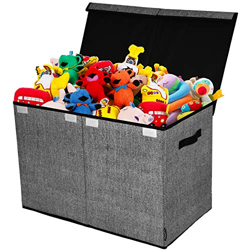 Toy Chest and Storage Box | House Organization Products | Toy Organizer Bins and Toy Bin Organizer for Tots Toys | Girls Toy Box or Boys Toy Box | Kids Room Storage or Living Room Storage (Dark Gray)