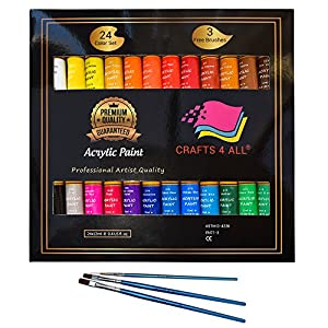 Acrylic paint 24 set by Crafts 4 All Perfect for canvas,wood,ceramic,fabric & crafts.Non toxic & Vibrant colors.Rich Pigments With Lasting Quality-Great For Beginners,Students & Professional Artist