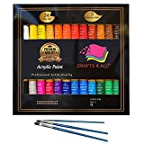 neon acrylic paint - Acrylic paint Set 24 Colours by Crafts 4 ALL Perfect For Canvas, Wood, Ceramic, Fabric. Non toxic & Vibrant Colors. Rich Pigments Lasting Quality For Beginners, Students & Professional Artist