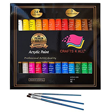 Acrylic paint 24 set by Crafts 4 All Perfect for canvas,wood,ceramic,fabric & crafts.Non toxic & Vibrant colors.Rich Pigments With Lasting Quality-Great For Beginners,Students & Professional (Paint & Wall Covering Supplies)