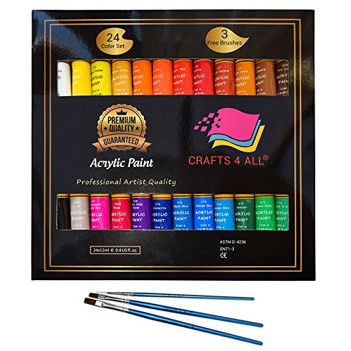 Acrylic paint Set 24 Colours by Crafts 4 ALL Perfect For Canvas, Wood, Ceramic, Fabric. Non toxic & Vibrant Colors. Rich Pigments Lasting Quality For Beginners, Students & Professional Artist (Acrylic Paint)