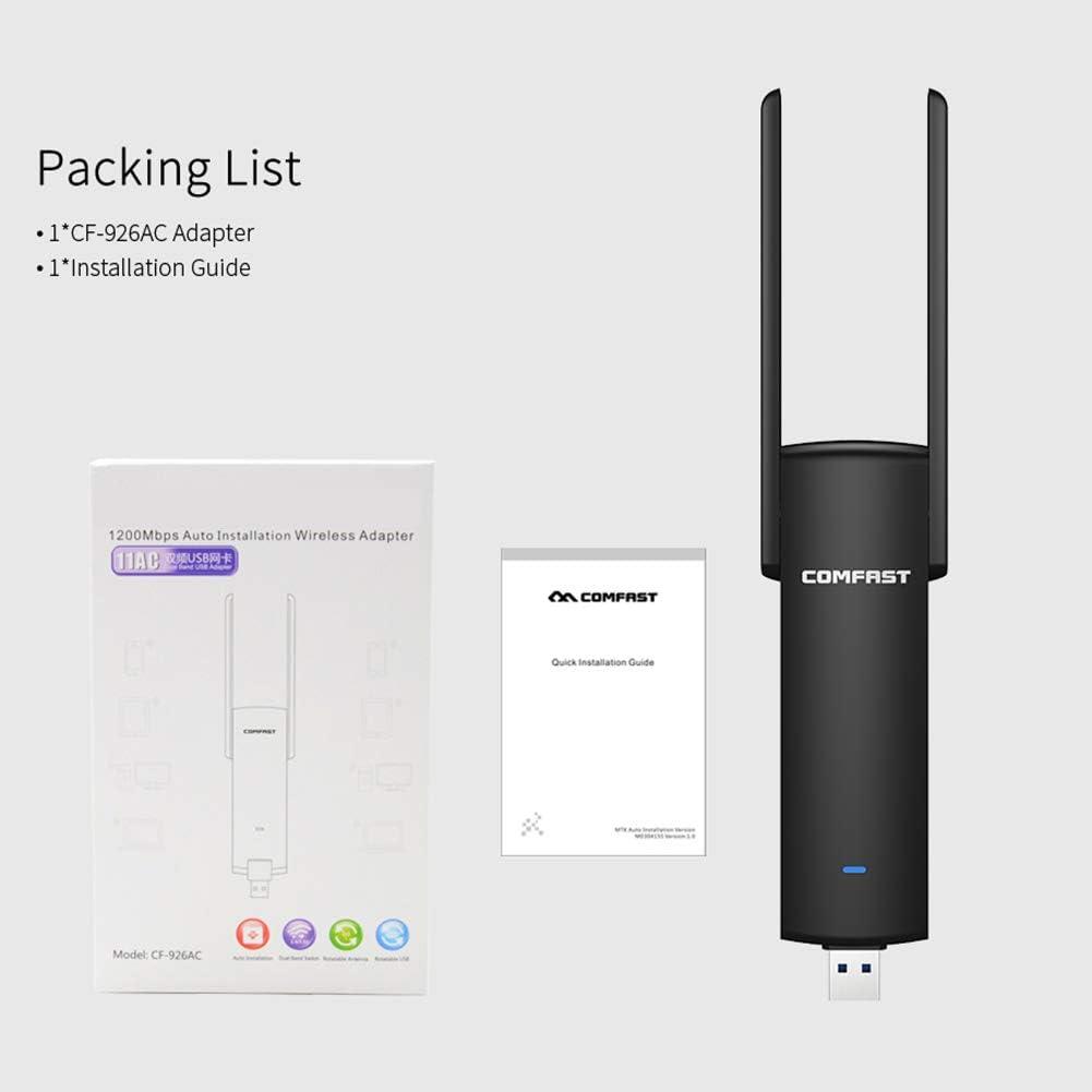 Portable 2.4//5.8G PC Computer WiFi LAN Network 1200Mbps Wireless USB Adapter hudiemm0B Wireless USB Adapter